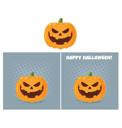 evil halloween pumpkin character collection vector image