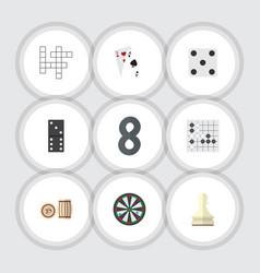 flat icon play set of lottery arrow bones game vector image