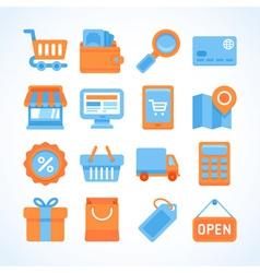 Flat icon set shopping symbols vector