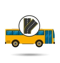 Fork road bus transport public vector