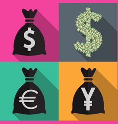 four icons monetary currency in flat on different vector image
