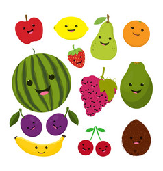 Fruit characters isolated on white vector