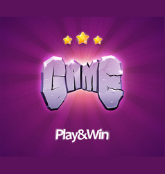 gaming icon word game with stone texture vector image