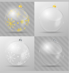 glass christmas balls design template vector image