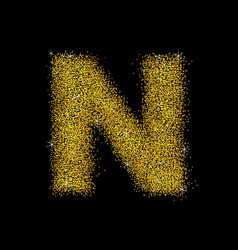 Gold dust font type letter n vector
