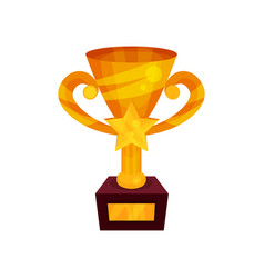 gold winner cup with star on a pedestal golden vector image