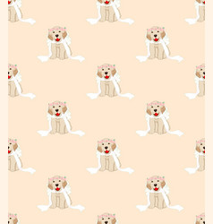 Golden retriever dog bride on beige ivory vector