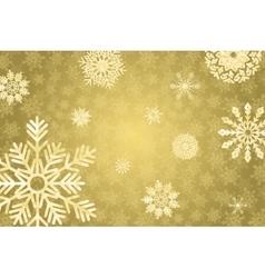 Golden winter bakground with crystallic snowflakes vector