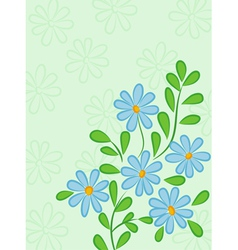 Green abstract background with blue daisies retro vector image