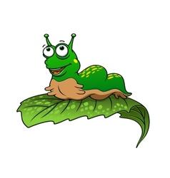 Green cartoon caterpillar insect vector image
