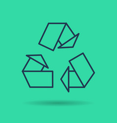 green isolated linear icon - eco reuse symbol vector image