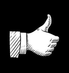 hand drawn thumbs up element isolated vector image