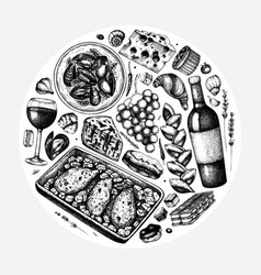Hand sketched french food and drinks french vector