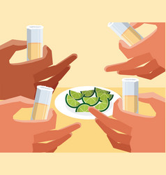 Hands grabbing tequila shots vector