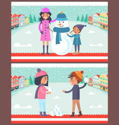Happy boy and girl going to play snowballs snowman vector