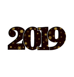 happy new year card black 3d number 2019 vector image