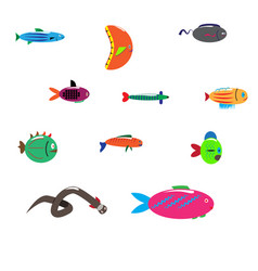 isolated fish set of freshwater aquarium cartoon vector image