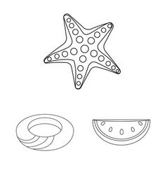 Isolated object of equipment and swimming symbol vector