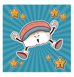 kawaii kani nigiri japanese food funny character vector image