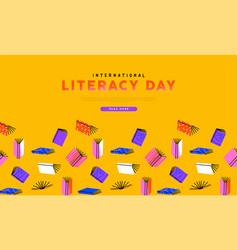 Literacy day web template retro colorful book vector