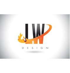lw l w letter logo with fire flames design and vector image