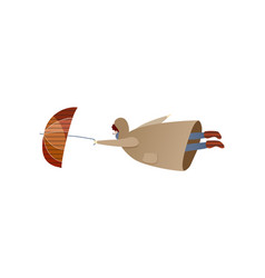 Man flying with umbrella windy day bad weather vector