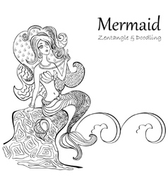 Mermaid black and white patterns vector