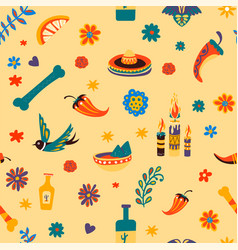 mexico traditional symbols and cultural signs vector image
