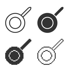 Monochromatic frypan icon in different variants vector