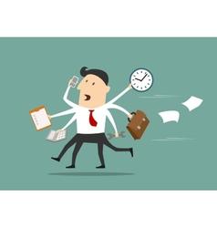 Multitasking businessman running flat concept vector