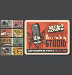 music shop jazz concert audio recording studio vector image