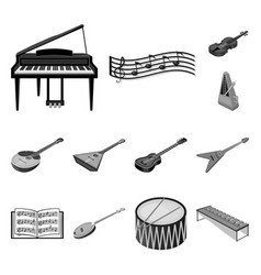 musical instrument monochrome icons in set vector image