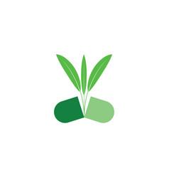 Natural bio capsule pill herbal logo icon vector