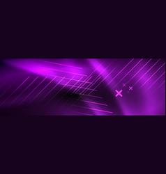 Neon glowing techno lines hi-tech futuristic vector