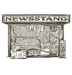 Newsstand Hand drawn press kiosk vector image