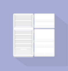open empty refrigerator isolated with violet vector image
