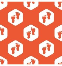 Orange hexagon footprint pattern vector image