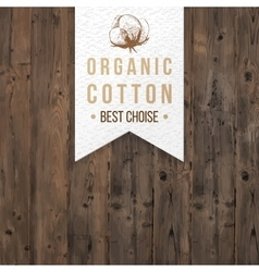 Organic cotton label with type design vector