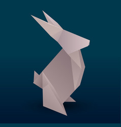 Origami hare 3d vector