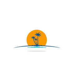 palm tree beach tropic logo vector image