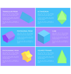 Pentagrammic pentagonal and triangular prisms set vector