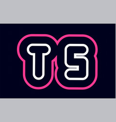 pink white blue alphabet combination letter ts t vector image