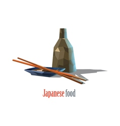 Polygonal of Japanese food asian cuisine vector