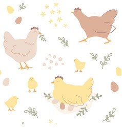 repeating hand-drawn print easter pattern vector image