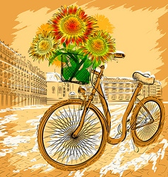 Retro Bicycle with Sunflowers vector