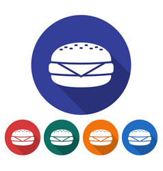 round icon of cheeseburger flat style with long vector image