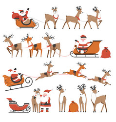 santa claus and reindeers on christmas holidays vector image
