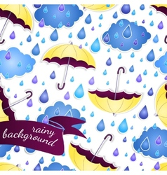 seamless background with umbrellas and a rain vector image