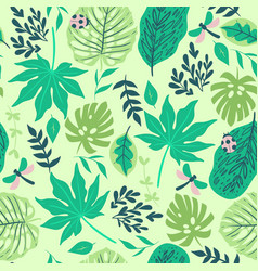 seamless pattern with tropical leaves graphics vector image
