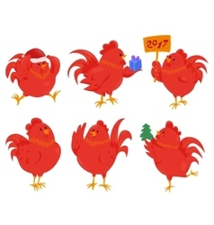 set cartoon chinese zodiac fire rooster vector image